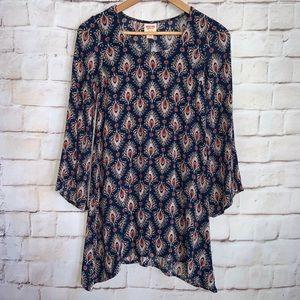 Mossimo Tunic Shirt 3/4 Sleeve, Sharbite Hem XS